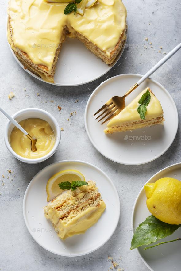 sweet cake with lemon cream - Stock Photo - Images