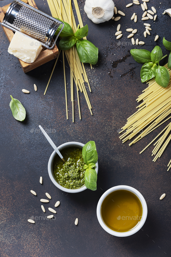 Condiments for cooking italian pasta - Stock Photo - Images