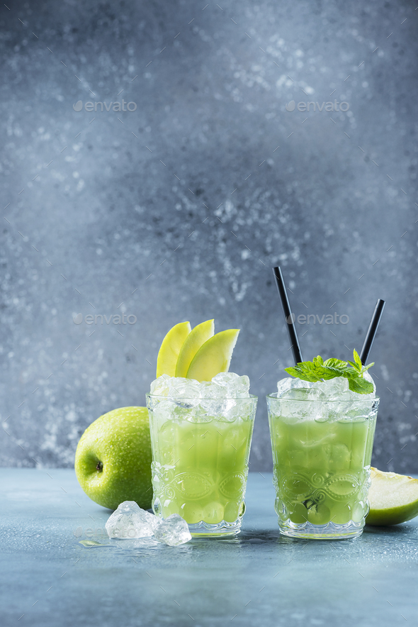 Green cocktail with ice and mint - Stock Photo - Images
