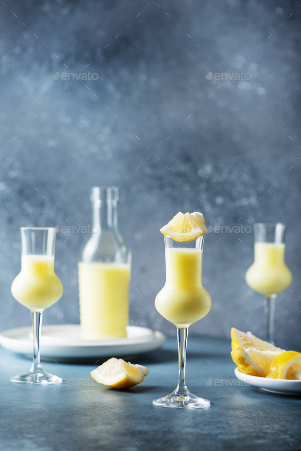 Italian liquor with lemons and cream - Stock Photo - Images