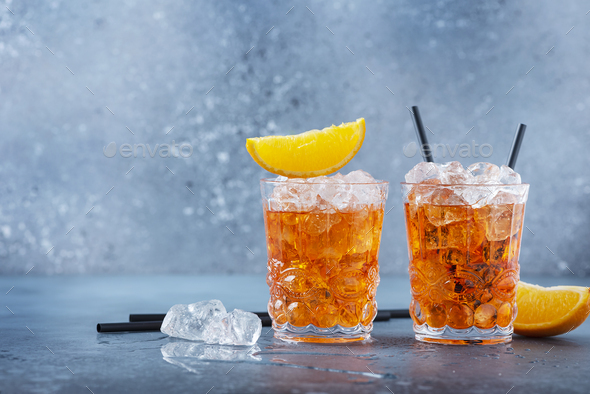 Two glasses of a traitional Italian cocktail - Stock Photo - Images
