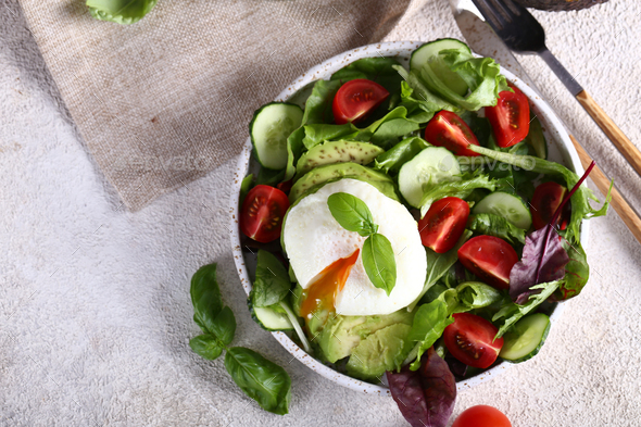 Salad with Ripe Avocado - Stock Photo - Images