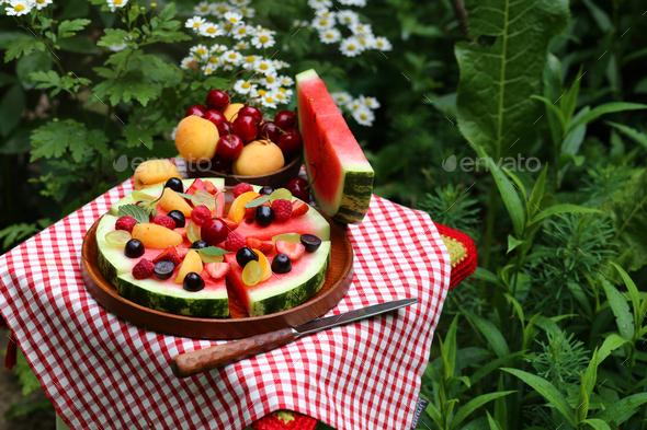 Fruit Pizza Watermelon - Stock Photo - Images