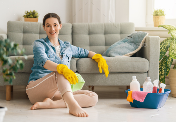 woman doing cleaning the house. - Stock Photo - Images