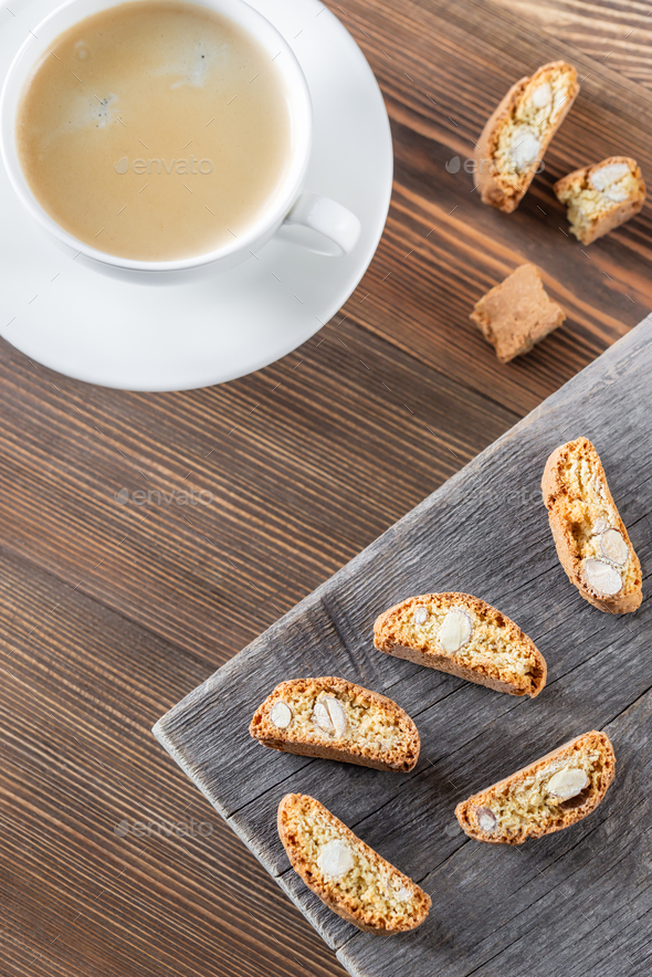 Cup of coffee with cantuccini - Stock Photo - Images