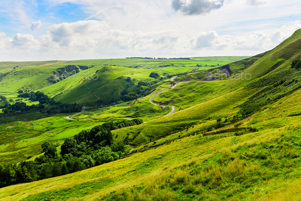 Mam Tor hill near Castleton and Edale in the Peak District Park - Stock Photo - Images