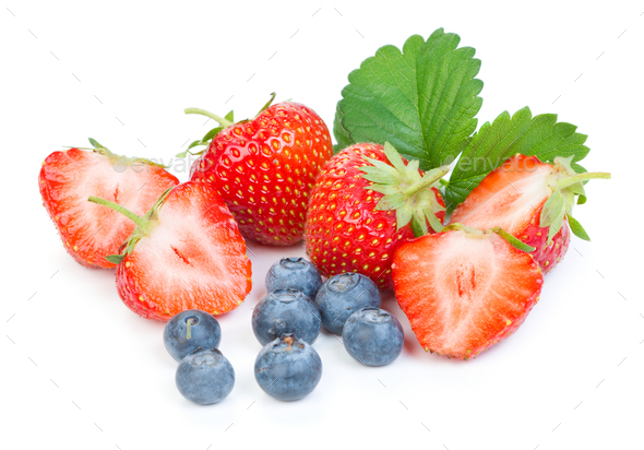 Strawberries and blueberries - Stock Photo - Images