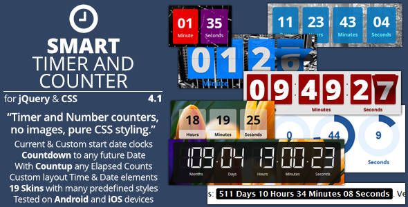 Smart Timer And Counter - jQuery Mega Countdown Plugin - Preview Image