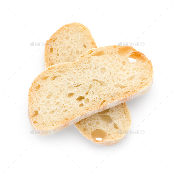 Sliced white bread top view isolated on white bacground - Stock Photo - Images