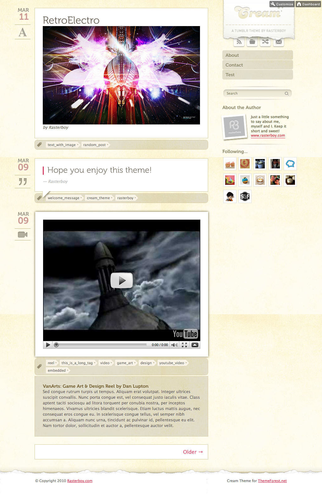 Free Download Cream - A Tumblr Theme Nulled Latest Version