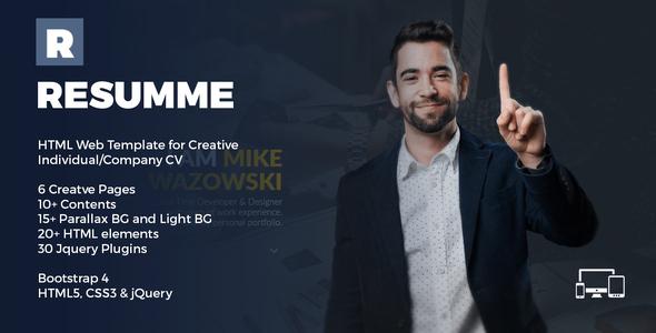 Wondrous Resumme - HTML Theme for Creative CV