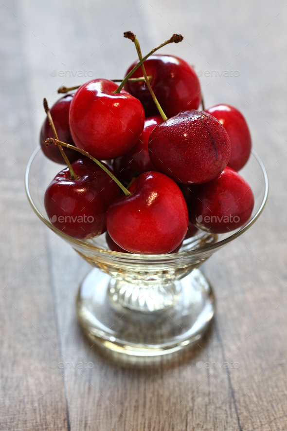 bing cherry fruits, american sweet cherry - Stock Photo - Images