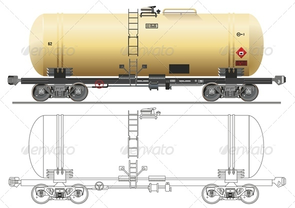 Vector Oil Gasoline Tanker Car - Man-made Objects Objects