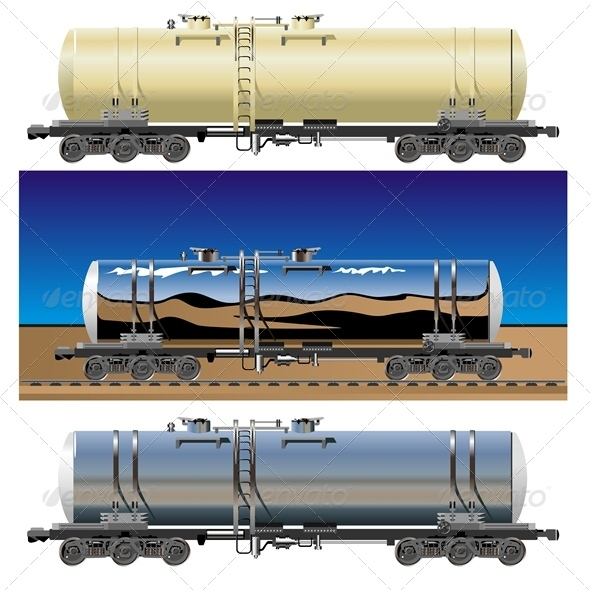 Vector Oil Gasoline Tanker Car Set - Man-made Objects Objects