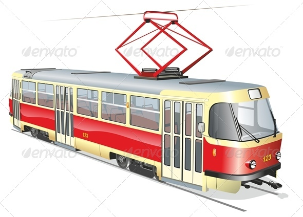 Vector City Tram - Man-made Objects Objects