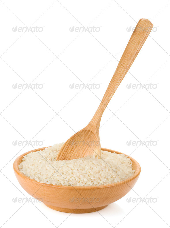 rice in plate and spoon - Stock Photo - Images