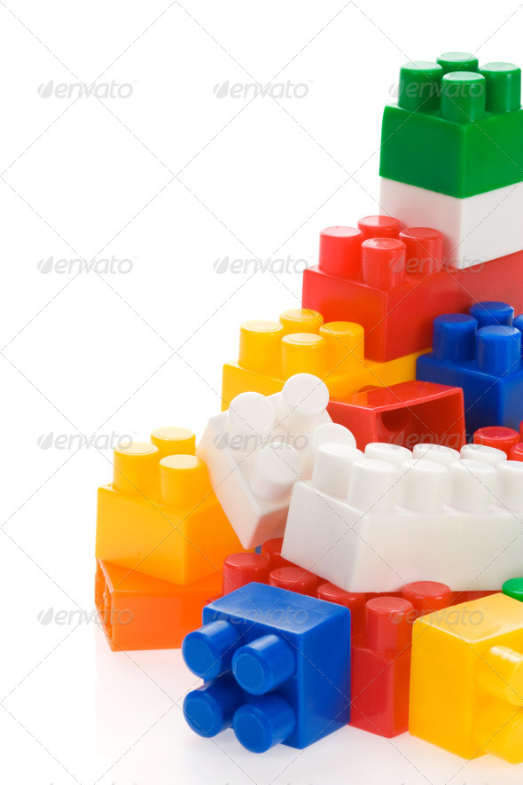 colorful plastic toys on white - Stock Photo - Images