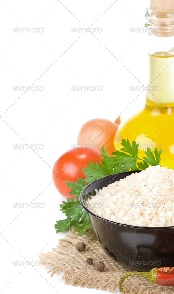 rice and vegetable isolated on white - Stock Photo - Images
