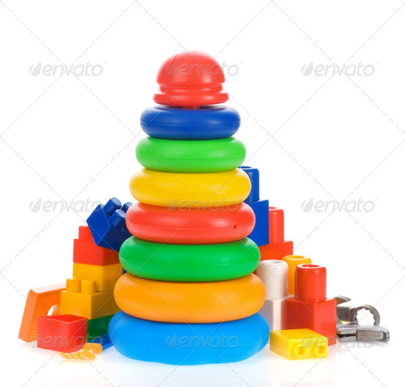 toys and bricks isolated on white - Stock Photo - Images