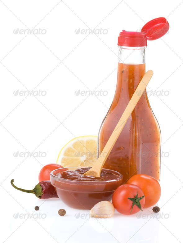tomato sauce and ketchup on white - Stock Photo - Images