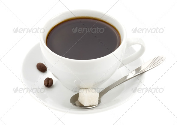 cup of coffee isolated on white - Stock Photo - Images