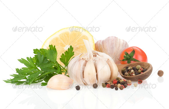 garlic, pepper and green parsley - Stock Photo - Images
