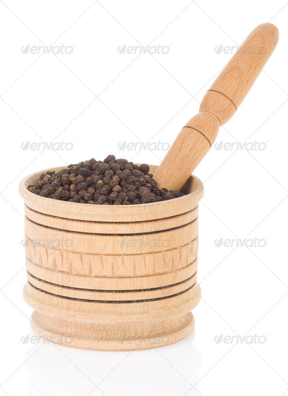 pepper in mortar and pestle - Stock Photo - Images