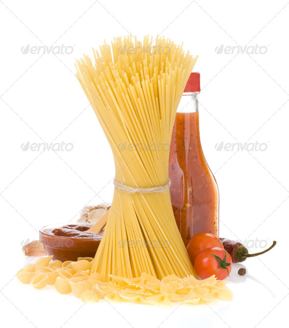 raw pasta and food ingredient - Stock Photo - Images