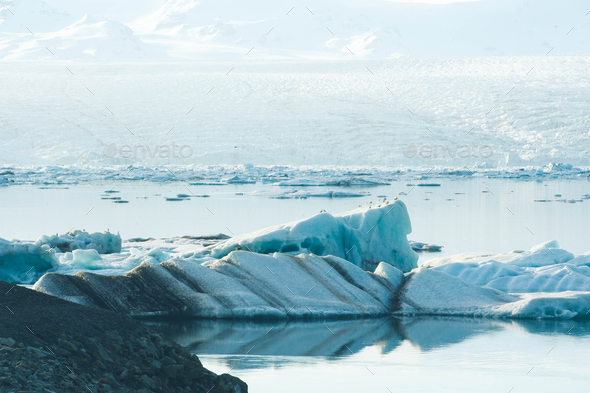Nature background ice Glacier lagoon in Iceland - Stock Photo - Images