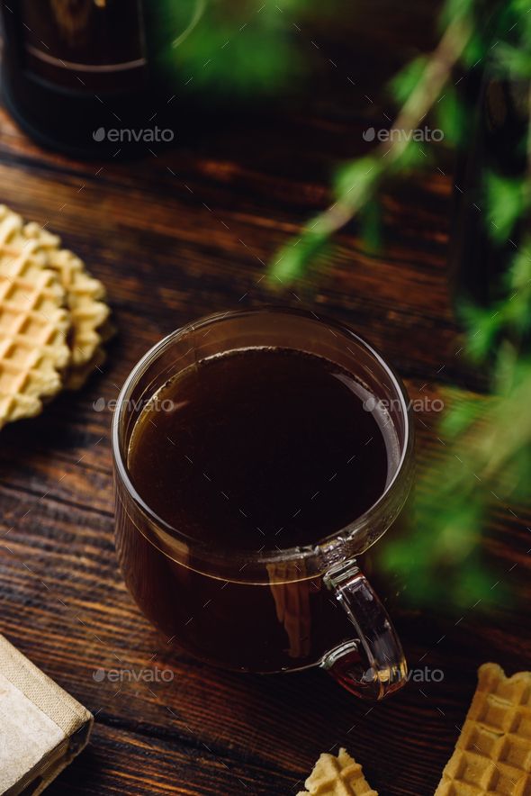 Coffee cup on rustic table - Stock Photo - Images