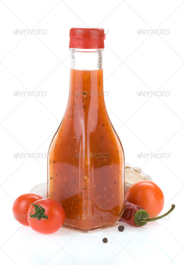 chili ketchup isolated on white - Stock Photo - Images
