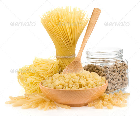 uncooked pasta isolated on white - Stock Photo - Images
