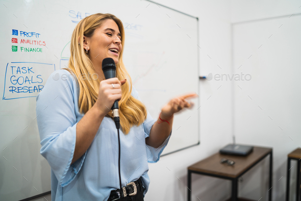 business woman explaining plan of work in conference. - Stock Photo - Images
