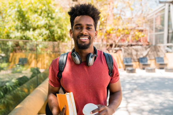 Afro university student in campus. - Stock Photo - Images