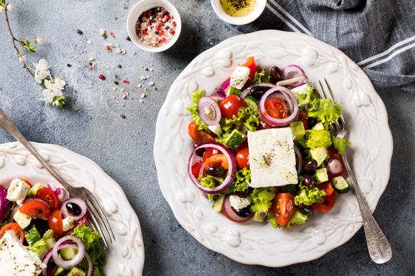Greek salad of fresh vegetables.Healthy food concept. - Stock Photo - Images