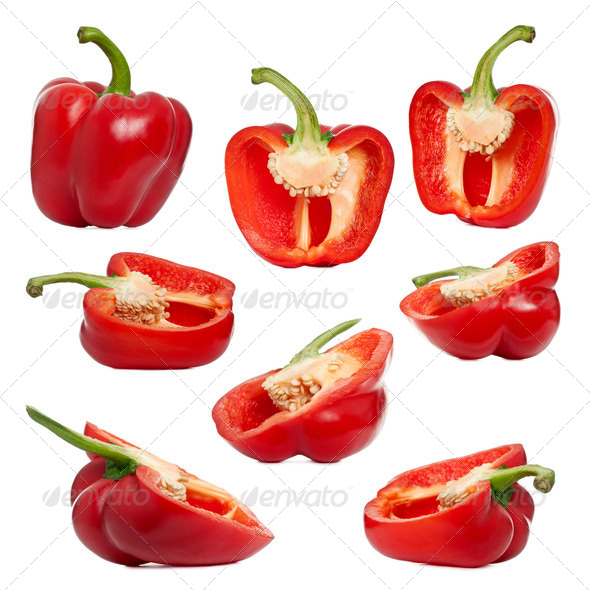 Sliced red peppers against white background - Stock Photo - Images