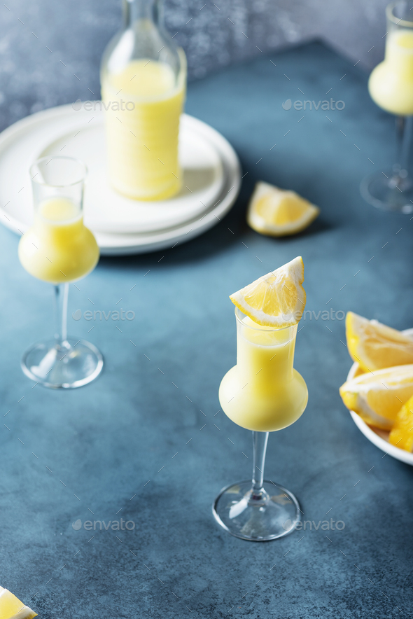 Italian liquor with lemons and cream - Stock Photo - Images