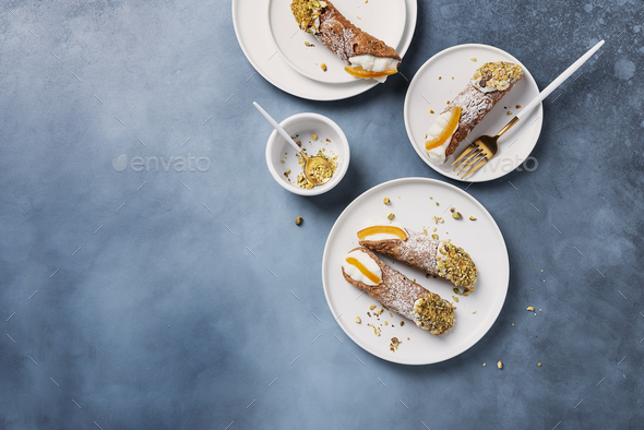Traditional italian dessert cannoli siciliani - Stock Photo - Images