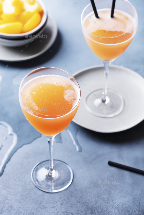 Traditional Italian cocktail bellini - Stock Photo - Images