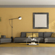 Black and yellow minimalist living room - PhotoDune Item for Sale