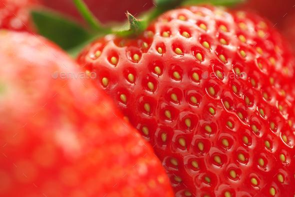 Macro of strawberry. - Stock Photo - Images