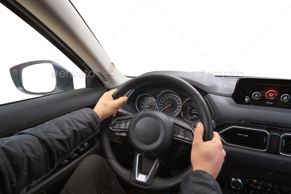 Man in car hold steering wheel. - Stock Photo - Images