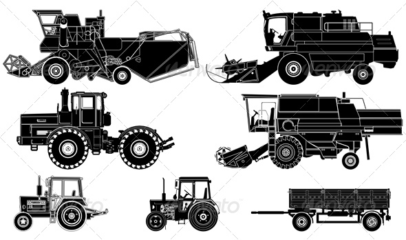 Vector Agricultural Vehicles Silhouettes Set - Man-made Objects Objects