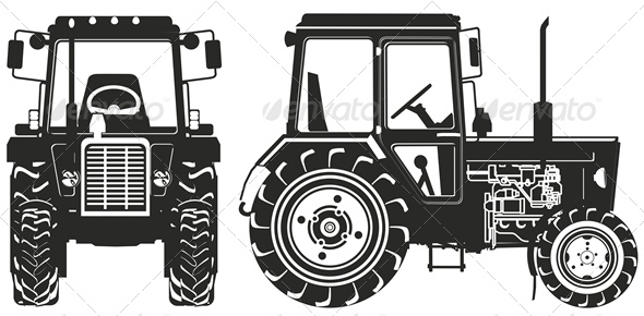 Vector Agricultural Tractor Silhouettes - Man-made Objects Objects