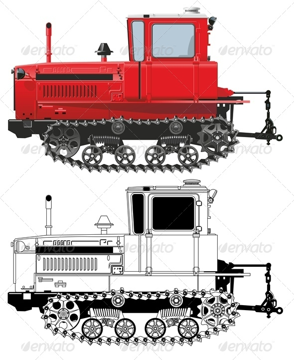 Vector Detailed Diesel Tractor DT - Man-made Objects Objects