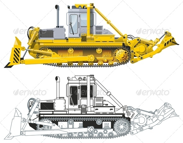 Vector Detailed Diesel-Electric Tractor DET - Man-made Objects Objects