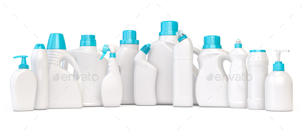Set of detergent plastic bottles with chemical cleaning product on white background. - Stock Photo - Images