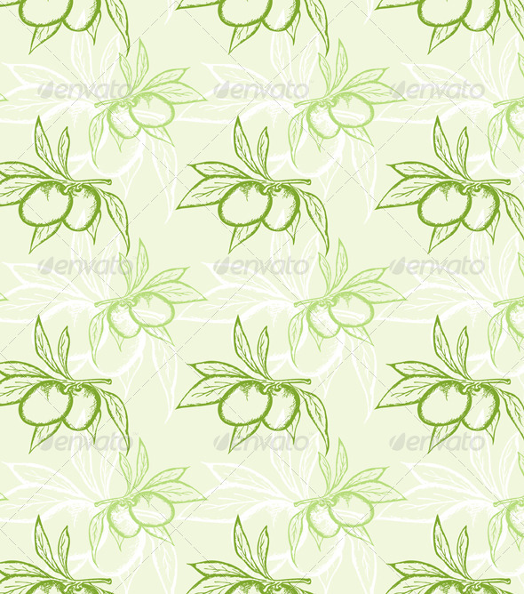 Green Olive Seamless Pattern - Patterns Decorative