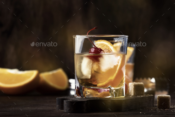 Old fashioned cocktail with bourbon - Stock Photo - Images