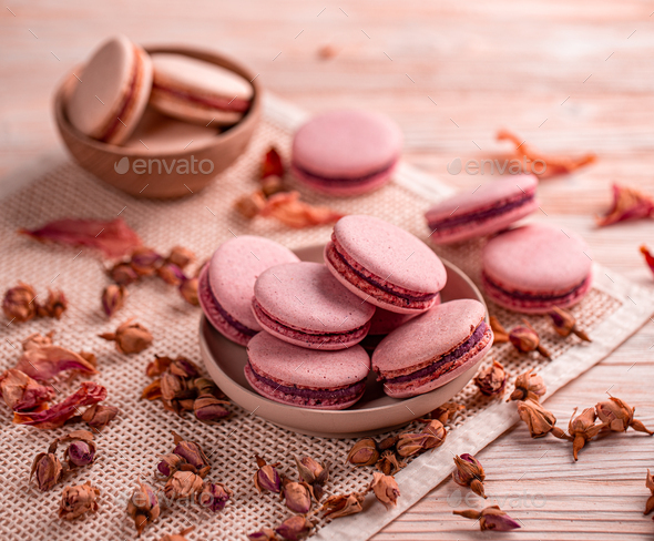 Still life composition of pink macaroons - Stock Photo - Images